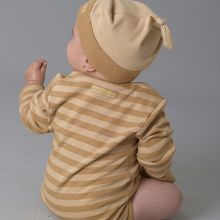 Striped Baby Bodysuit w/ Long Sleeves - 100% Organic Cotton