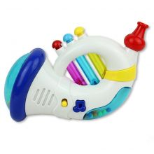 Musical Trumpet Toy Instrument for Kids with Rattle and Blow Horn