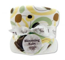 Bouquet Hooded Towel-4 Pack Burp Cloth (Color: Giggles Print)