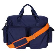 Diaper Bag - Delux Duffle (Color: Navy Blue And Orange Deluxe Duffle)