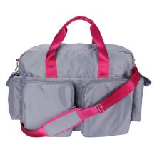 Diaper Bag - Delux Duffle (Color: Gray And Magenta Pink Deluxe Duffle)