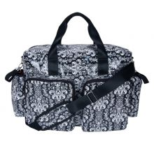 Diaper Bag - Delux Duffle (Color: Midnight Fleur Damask Deluxe Duffle)