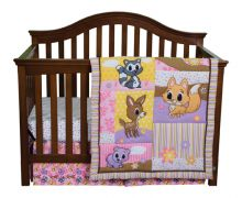 Crib Bedding | 3 Piece Crib Bedding Set (Color: Lola Fox And Friends)